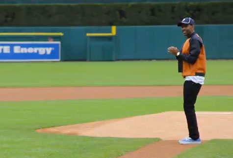 Big Sean Throws Out First Pitch at Detroit Tigers Game