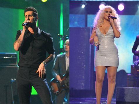 Maroon 5 Performs with Christina Aguilera, Gym Class Heroes at AMAs